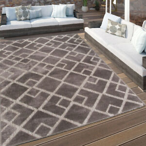 Large Grey Outdoor Rug   Washable Patio & Kitchen Rugs   Durable Hall Runner Mat