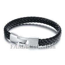 Quality Stylish FAMA Black Braided Leather Bracelet NEW