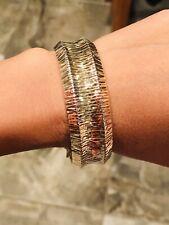 "Vtg ITALY JCM .925 Gold Over Sterling Silver Bracelet Bangle 29.2g-7.50"" - 0.75"""