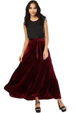 12 M Extra Long Wine Red Velvet Flared Evening Party Skirt +Tie Belt Gothic Boho