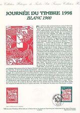 Document Philatélique Timbre 1er Jour : 21/02/ 1998 - Journée du Timbre Blanc