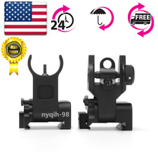 US BUIS Front Rear Iron Sights Flip up Set For 20mm Mount Gun Rifle Airsoft