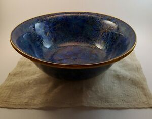 """Vintage Chinese Blue Floral Cloisonne Gilded 9"""" Bowl - Made In China"""