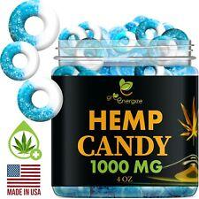 Hemp Infused Gummy Blue Raspberry Rings Pain & Anxiety Vegan Gummies 1000mg 4 oz