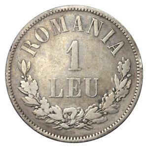 ROMANIA 1 LEU SILVER KM 10 KEY DATE 1873 VF+ / XF-