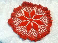 VTG USA Hand Crocheted Red Round Doily Ruffle  Lace Mat Ruffle Table Hot Pad 11""