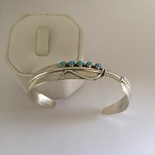 Native American Sterling Silver Navajo Handmade Turquoise Feather Style Bracelet