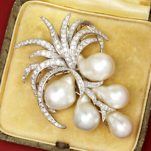 Vintage Baroque Pearl Brooch Coconut Tree with Diamonds 14K 1.75ctw