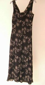 Lovely Black Floral Print Fully Lined Dress from Racing Green - Size 12 - Great!