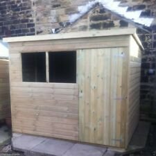 10x4 TANALISED WOODEN GARDEN SHED FACTORY SECONDS PENT HUT FULLY T&G STORE