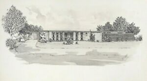 CONTEMPORARY MODERN 1970s  HOUSE DRAWING - WATERCOLOUR & INK BY McGEE   P84