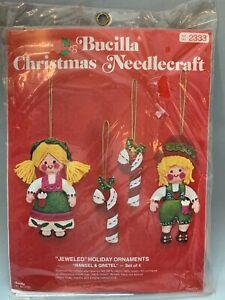 vintage Bucilla Christmas Needlecraft Hansel & Gretel Jeweled Holiday Ornaments