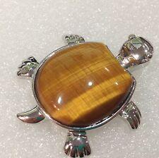 Natural Charming Turtle type africean tiger's eye  pendant 18KGP