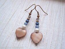TAN BROWN SHELL HEART IVORY BLUE NAVY PEARL Bead Drop Earrings Boho MOP Gift