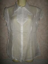MARKS AND SPENCER WHITE LIGHTWEIGHT FITTED COTTON BLOUSE SIZE 14