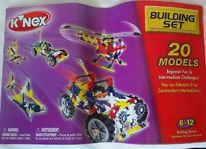 K'Nex Building Set Manual Instructions Booklet Pamphlet 20 Models