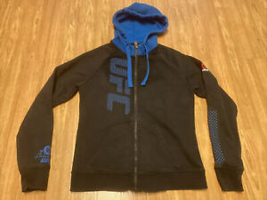 UFC REEBOK HOODED HOODIE TRAINING SWEATSHIRT MENS SMALL BLUE BLACK FULL ZIP