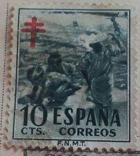 1951 España Español niños en la playa de Sorolla Estampilla postal impositiva franqueada