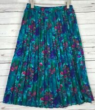 Womens Vtg Philippe Marques Pleated Floral Geometric Print Skirt Sz 14