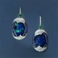 925 Silver Blue Opal Sapphire Woman Ear Hook Stud Earrings Wedding Jewelry Gift