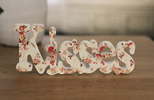 KISSES Floral Print Sign Words Home Decor Gift Homewares 22cms NEW