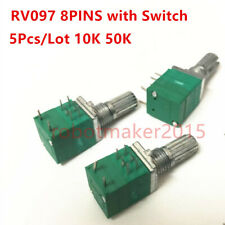 5Pcs Seal Potentiometers Double Stereo/Dual 8 Pins RV097 with switch 10K 50K