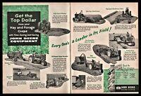 1956 JOHN DEERE Tractor Vintage Farming Equipment Machinery 2-pg AD