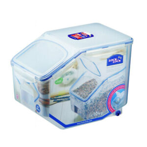 Lock & lock Plastic Rice Case 12L Container/Storage Food Organiser w/ Cup Clear