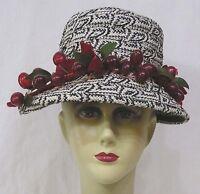 Vintage Womens Straw Hat Black & White Geometrics and Band of CHERRIES 1960s