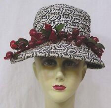 67fe953f93c Vintage Womens Straw Hat Black   White Geometrics and Band of CHERRIES 1960s