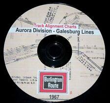 CB&Q RR Burlington Route 1967 Galesburg Line Track Chart PDF Pages on DVD
