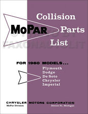 1960 Chrysler Body Parts Book Imperial New Yorker Windsor Saratoga Collision