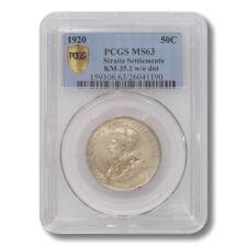 Straits Settlements King George V 50 Cents 1920  KM-35.1 w/o dot PCGS MS-63