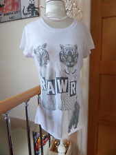 GORGEOUS HIPSTER TIGER FACE PEOPLE PRINT TOP SIZE 10 BY WORD OF MOUTH GOOD COND