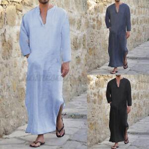 Men Muslim Clothing Arab Caftan Long Sleeve Islamic Saudi Jubba Kaftan Loungwear