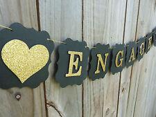 ENGAGED Banner Bunting Sign Wedding Engagement Bridal Shower glitter letters
