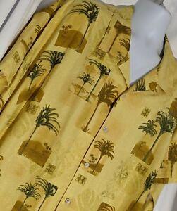 4XB Tommy Bahama 100% silk yellow Hawaiian palm tree aloha camp shirt big tall