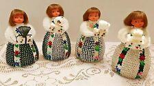 "Vintage Bead & Sequin Push Pin Girl Tabletop Decorations 5"" Granny Chic X-mas +"