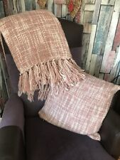 CATHERINE LANSFIELD Knitted Pink Check Throw & Cushion.