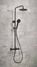 Bathroom Thermostatic Mixer Shower Set Round Matte Black Twin Head Exposed Valve
