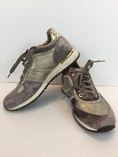 Henry Ferrera Shoes Womens Size 8 Velvet Purple Lace Up Sneaker Crystals