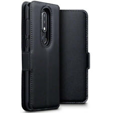 Low Profile Genuine Leather Stand Wallet Case for Nokia 6.1 Plus - Black