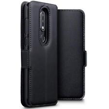 Perfil bajo Estuche tipo Billetera con Base de Cuero Genuino para Nokia 6.1 Plus-Negro