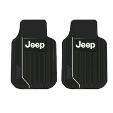 New 2pc Jeep Elite Logo Front All Weather Heavy Duty Rubber Floor Mats Set