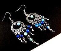 1 Natural Pair of Blue Agate Gemstone Bohemian Dangle Earrings - # 232