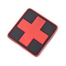 Outdoor Survival First Aid PVC Red Cross Hook Loop Fastener Badge Patch 6×6cm.ja