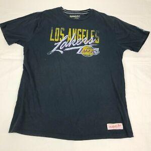 LA Los Angeles Lakers Shirt Mens XL Tee Black Mitchell & Ness Tailored Fit NBA