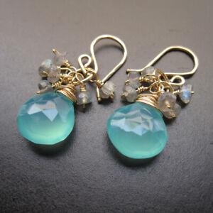 Sea Blue Chalcedony, Labradorite Wire Wrapped Gemstones Earrings