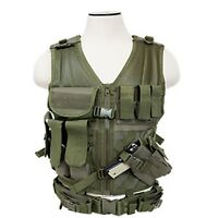 NcSTAR 2XL OD Green Military LE MOLLE X-Draw Gun Tactical Combat Assault Vest