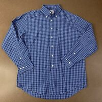 Brooks Brothers Mens Size Medium Blue White Plaid Long Sleeve Button Front Shirt